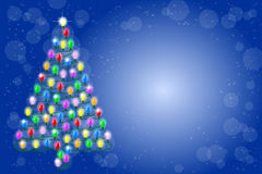 Christmas tree from a string of lights Royalty Free Stock Images