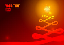 Christmas tree and stripe on red background Royalty Free Stock Image