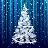Christmas tree on the striped background. Stock Photography