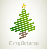 Christmas tree from stripes - modern christmas card Royalty Free Stock Image