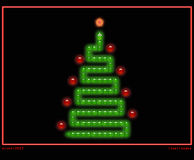 Christmas tree in style of snake game. Christmas tree in style of pc or mobile game snake with funny green snake and red christmas tree decorations on black vector illustration