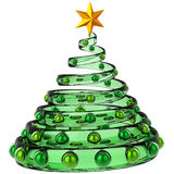 Christmas tree stylized (Hi-Res). Modern christmas tree made from green glass with metallic baubles and shiny yellow star. Stylized and beautiful. This is a Stock Images