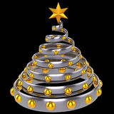 Christmas tree stylized (Hi-Res). Stylized metallic Christmas tree with shiny yellow baubles and star shape. Beautiful souvenir. This is a detailed 3D rendering Royalty Free Stock Photography