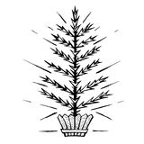 Christmas tree stylized in a pot. Sketch vector symbol Christmas winter. Hand drawn painted Christmas tree stylized in a pot royalty free illustration