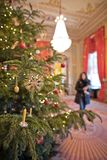 Christmas tree in sumptuous palace room. Christmas decorations in State Rooms at the Albertina Museum Royalty Free Stock Image