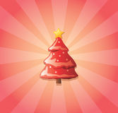 Christmas tree and sunburst. Illustration of Christmas tree on red and pink sunburst background Royalty Free Stock Photography