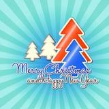 Christmas tree sunburst. Orange, blue and white christmas tree on the sunburst background vector illustration