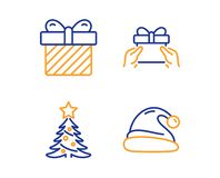 Christmas tree, Surprise and Give present icons set. Santa hat sign. Spruce, Present with bow, Receive a gift. Vector. Christmas tree, Surprise and Give present stock illustration