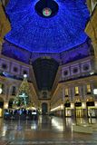 Christmas tree by Swarovski and the Vittorio Emanuele II decorated Gallery in Milan. Royalty Free Stock Photography