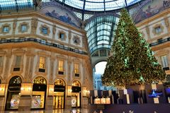 The Christmas tree by Swarovski and the Vittorio Emanuele II decorated Gallery in Milan. Stock Images