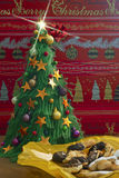 Christmas tree and sweet cookies Royalty Free Stock Images
