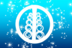 Christmas tree symbol. A Christmas tree symbol with snowflakes in the background Royalty Free Stock Images
