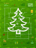Christmas tree symbol as technical blueprint drawing. Drafting of pine sign on crumpled paper. Qualitative vector illustration for christmas, new year's day Royalty Free Stock Photos