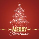 Christmas tree symbol stardust red background. Christmas tree symbol stardust gold white red background vector Stock Photo