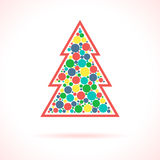 Christmas Tree symbol. Xmas decorations. Infographic symbol with shadow. Festive style graphic design element. Traditional celebration concept Royalty Free Stock Photography