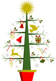 Christmas tree with symbols and decorations Royalty Free Stock Image