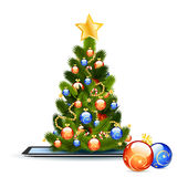 Christmas Tree on Tablet PC Stock Photos
