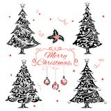 Christmas Tree in Tattoo style Royalty Free Stock Photo