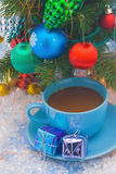 Christmas tree and tea cup stock images
