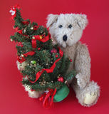 Christmas tree with teddy bear Royalty Free Stock Photo