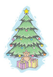 Christmas tree and teddy bear Royalty Free Stock Images