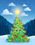 Christmas tree theme 4 Royalty Free Stock Image