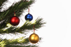 Christmas tree with three spheres. Three spheres on a Christmas tree on white background. White area on the right side to insert text stock photography