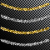 Christmas tree tinsel. Gold and silver decoration Royalty Free Stock Photo