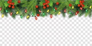 Free Christmas Tree Top Border Decoration With Red Holly Berries And Fairy Lights Stock Photo - 159030540