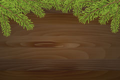 Christmas tree top frame on wood plank background Royalty Free Stock Images