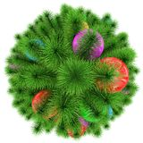 Christmas tree - top view - decorated with colorful Christmas ba. Lls - isolated on white - 3d rendering Stock Photography