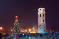 Christmas tree and tower in Vilnius people. Christmas tree and tower in Vilnius many people at the New Years evening Stock Images