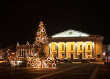 Christmas Tree in The Town Hall Square, Vilnius, Lithuania. The photo shows the Christmas Tree at the Town Hall Square in the Old Town.  The Christmas Royalty Free Stock Image