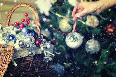 Christmas tree toy basket Royalty Free Stock Images