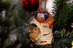 Christmas tree toy. A bird on a tree. Royalty Free Stock Image