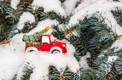 Christmas tree on toy car Royalty Free Stock Image