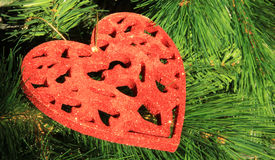 Christmas tree toy in the form of a red heart Stock Photos