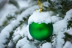 Christmas tree toy green ball hanging under the snow on a branch of fir on the right. Real winter in the garden. Selective focus with amazing snow blur. There stock photography