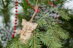 Christmas tree toy on the green branches of spruce royalty free stock photos