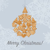 Christmas tree toy made of gingerbread. Royalty Free Stock Photography