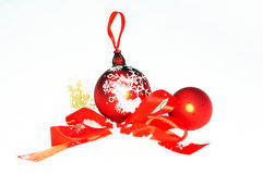 Christmas tree toy, red bow, Snowflake in snow on white backgrou Stock Photo