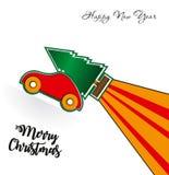 Christmas tree on toy roket car. Christmas holiday celebration concept royalty free illustration