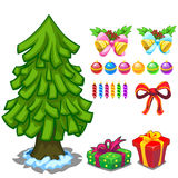Christmas tree and toy set for decoration. Vector Stock Image