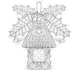 Christmas tree toy in shape of house with mistletoe in zentangle. Style. Hand drawn Xmas decorative sketch for adult coloring book. Vector illustration for New Stock Photo