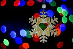 Christmas tree toy snowflake Royalty Free Stock Photo