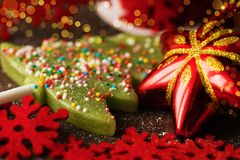 Christmas tree toy toned macro celebration decor with green hard. Candy selective focus Stock Photo