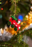 Christmas tree toy. Wooden toy train. Christmas tree Christmas tree. Christmas mood.Christmas tree toy. Wooden toy train. Christma Stock Photo