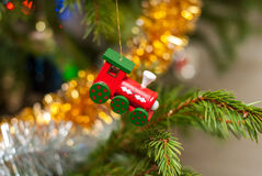 Christmas tree toy. Wooden toy train. Christmas tree Christmas tree. Christmas mood.Christmas tree toy. Wooden toy train. Christma Stock Image