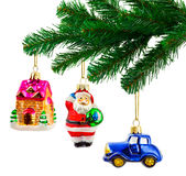 Christmas tree and toys Stock Images