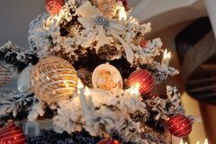 Christmas tree with toys Royalty Free Stock Images